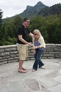 Due to his fear of heights, he wouldn't take a picture with me sitting on the wall. I couldn't stop laughing.